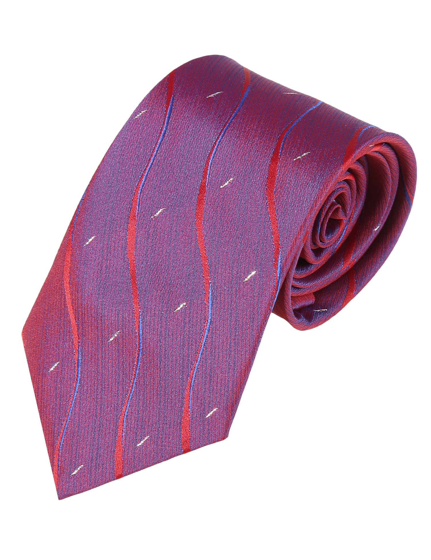 Coofandy Fashion Silk Neck Tie Classic Floral for Men, Wine Red ,One Size