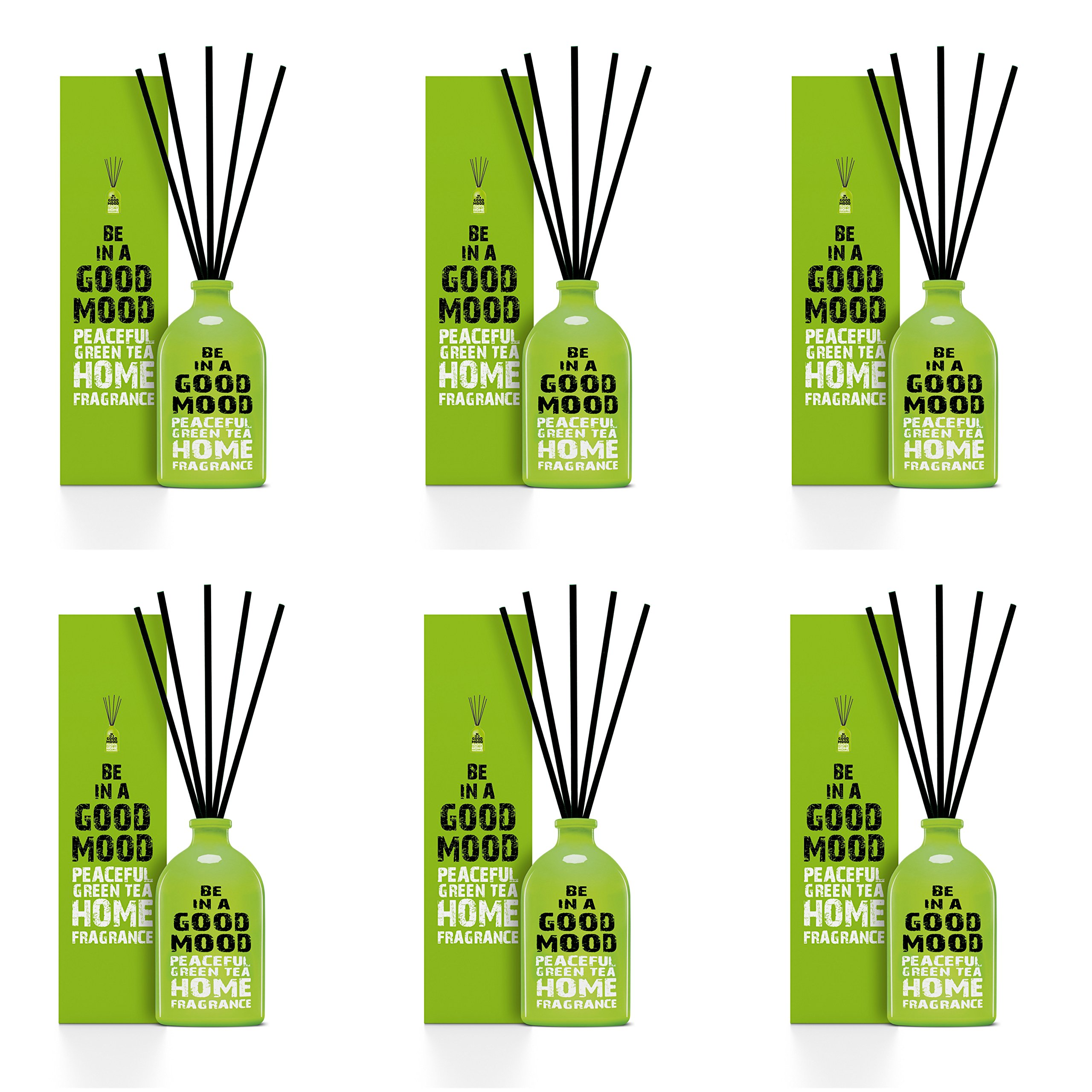 Be in a Good Mood Aromatherapy Diffuser Sticks | Reed Diffuser Set | Aromatic Home Fragrance Set | Essential Oil Diffuser Sticks, Made of Natural Scented Oils Blend - 6 Pack (Green Tea) by Be in a Good Mood