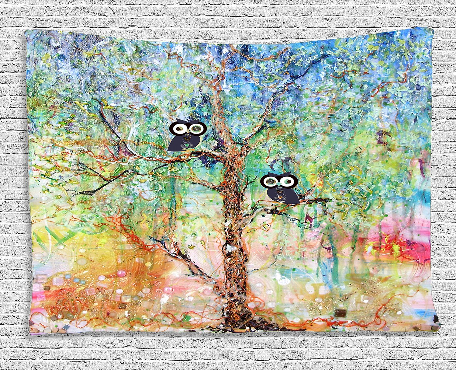 Let Your Walls Sing With Beautiful Tree. Gorgeous Colors and Delightfully Owl Tapestry 80W x 60L inches Changyun GT0725-5