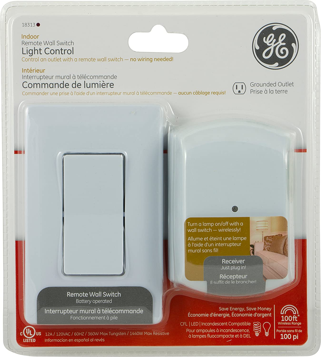 Ge 18313 With 1 Outlet Receiver Rf Wireless Wall Switch Remote Wiring A To Control Plug Standard Outlets Amazon Canada