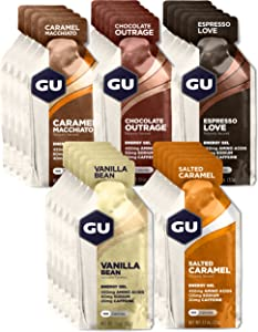 GU Energy Original Sports Nutrition Energy Gel, Assorted Indulgent Flavors, 24 Count Box