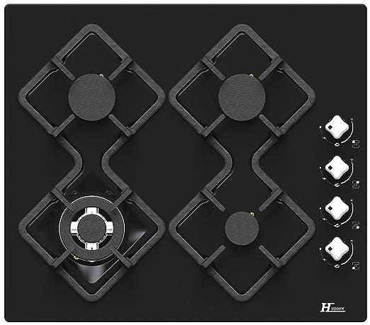 Hudson - Placa de cocción (4 fuegos de gas) Norme Verre Noir ...