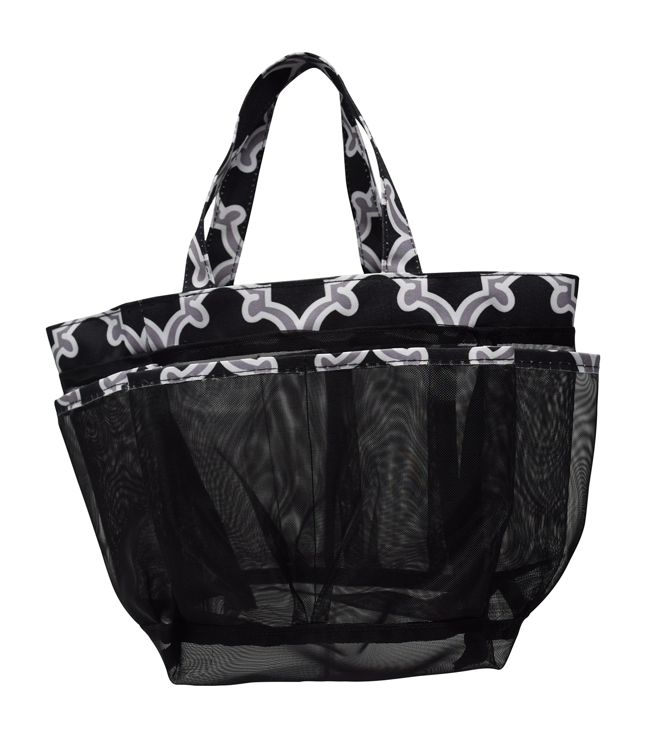 Nickanny's 8 Pocket Large Mesh Shower Caddy Tote With Fabric Double Handles For Quick Drying To Keep Your Essentials In Reach (Black/Grey Quatrefoil)