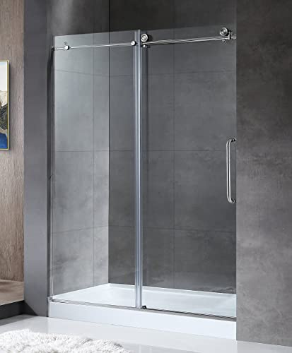 ANZZI Madam 76 x 48 inch Frameless Sliding Shower Door in Brushed Nickel with Handle Clear Tempered Deco Glass Shower Doors with Symmetrical Design for Reversible Installation SD-AZ13-01BN