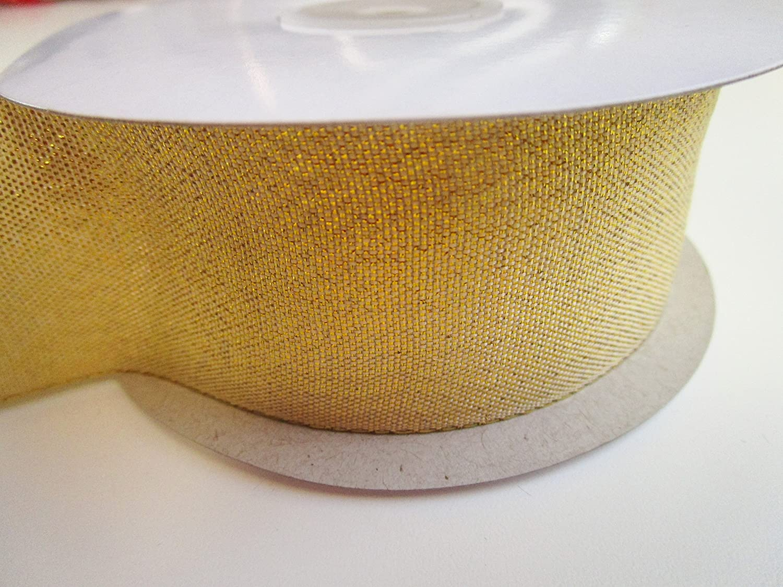 CaPiSo/® 25 m Brokatband-Lurex Glitzerband in 25 mm Breite mit Webkante Gold Gl/änzend