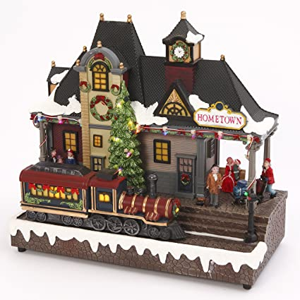 led lighted musical train station with animated moving train christmas village holiday decoration - Lighted Train Christmas Decoration