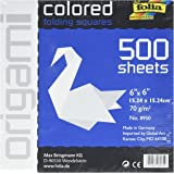 Global Art Folia Solid Origami Paper x 6-inch 500/Pkg White, Acrylic Multicolour, 4.44x15.24x15.24 cm