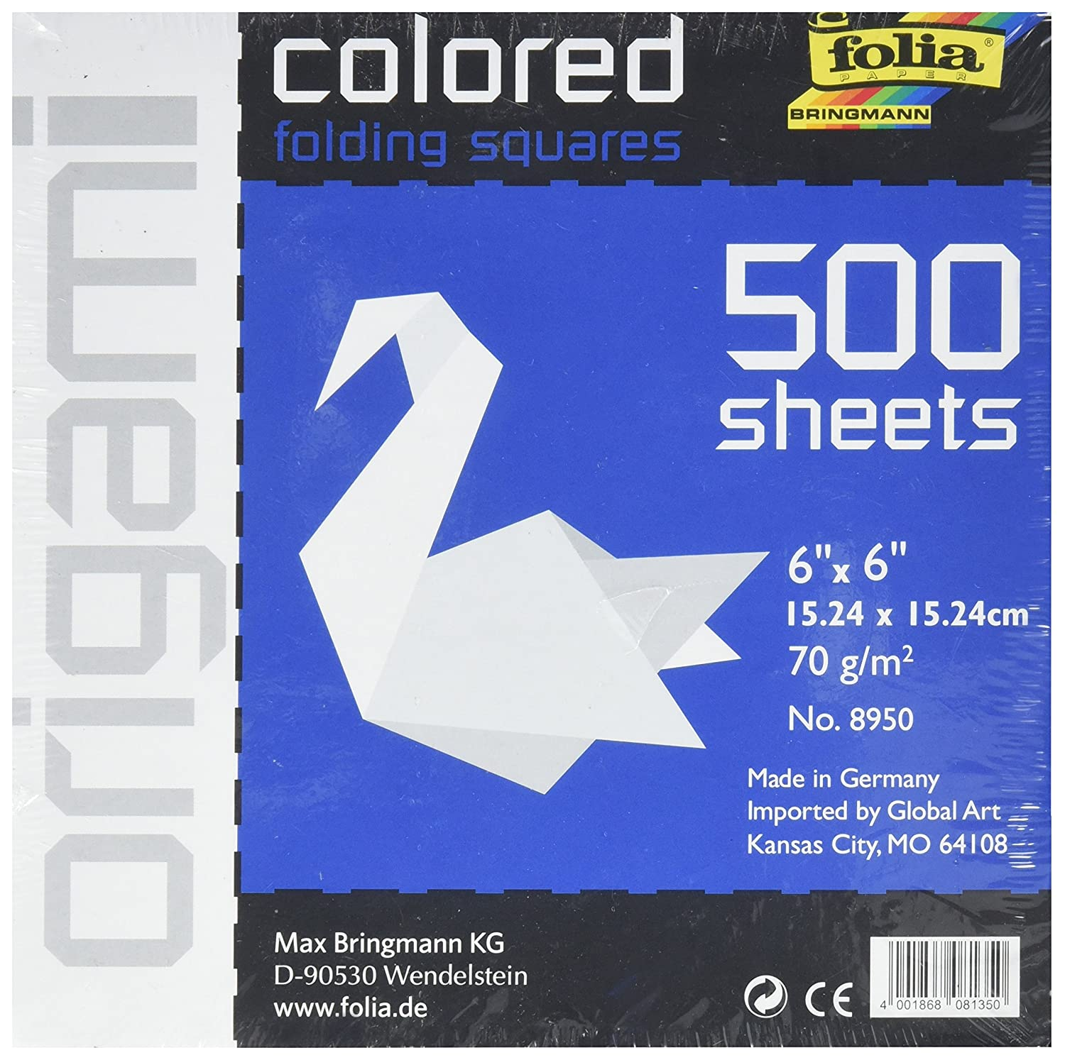 "Folia Paper Origami Colored Folding Squares 500 Sheets Size 4/""x 4/"" Ten Colors"