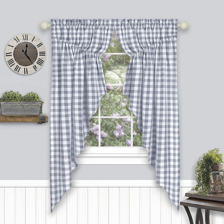 Achim Home Furnishings Buffalo Check Gathered Swag Window Curtain Pair 72 X 63 Grey Grey White Home Kitchen Amazon Com