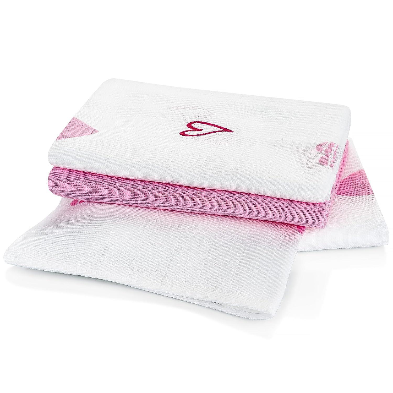 3 Stück - Mulltücher / Spucktücher / Mullwindeln, 80 x 80 cm - bedruckt - Herzen Rosa, doppelt gewebt mit verstärkter Umrandung, maschinenwaschbar bis 60° C, Öko-Tex Standard 100 Makian