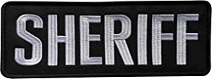 """uuKen Large Embroidery Cloth Fabric Sheriff Patch Black and White for Law Enforcement Police Tactical Vest Jacket Uniform Plate Carrier Back Panel (Black and White, Large 8.5""""x3"""")"""