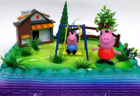 Peppa Pig Birthday Cake.Peppa Pig 12 Piece Birthday Cake Topper Set Featuring Peppa Pig And George Pig Decorative Themed Accessories Figures Average 3 Tall