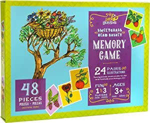 Little Likes Kids - Sweetgrass Head Basket - Memory Montessori Games for Toddlers Kids, 24 Matching Flower Card Pairs, Preschool Garden Toy, Ages 3-5