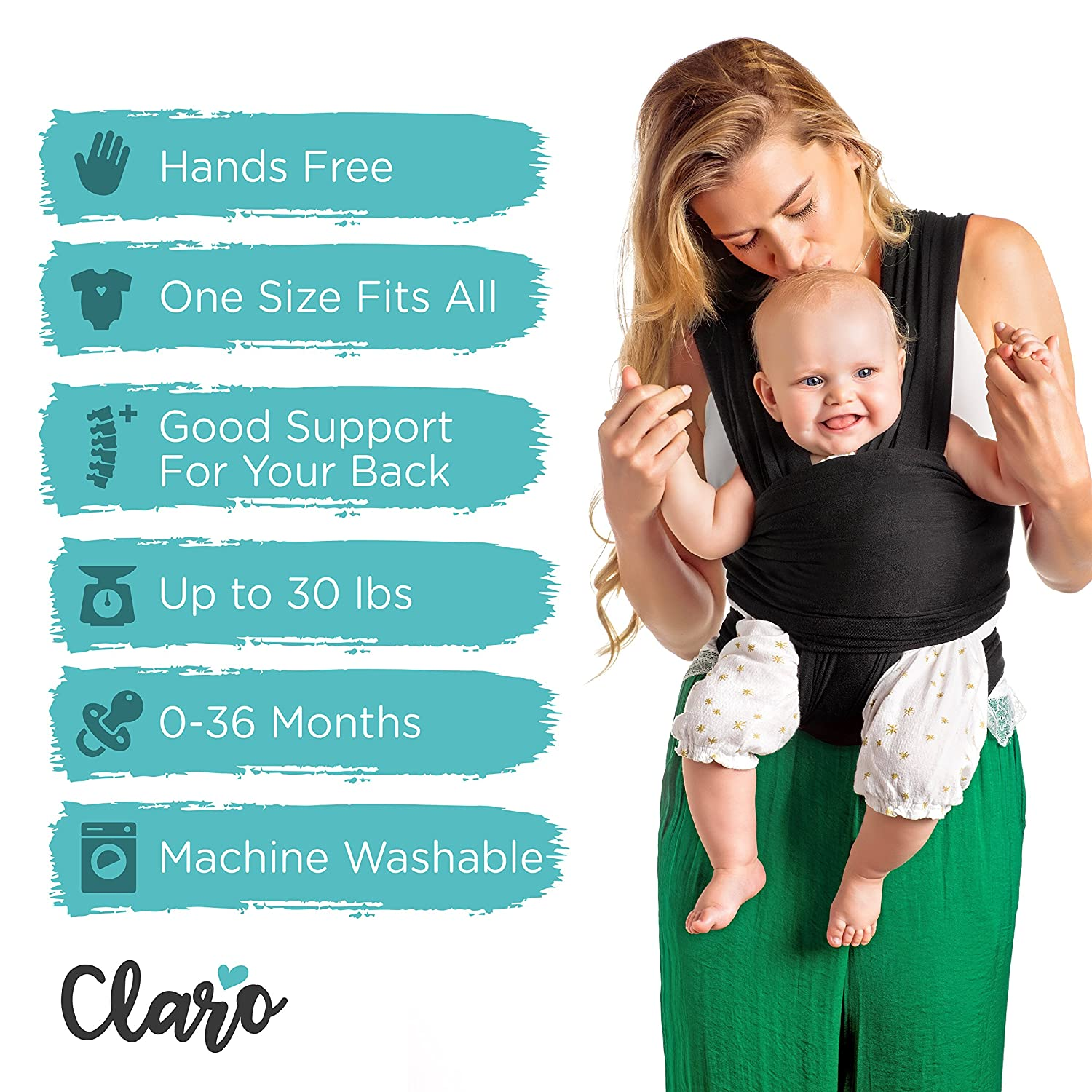 b8f856a0fe8 Amazon.com   Baby Wrap Carrier Hands Free - Breathable Soft and Stretchy Baby  Sling Carrier