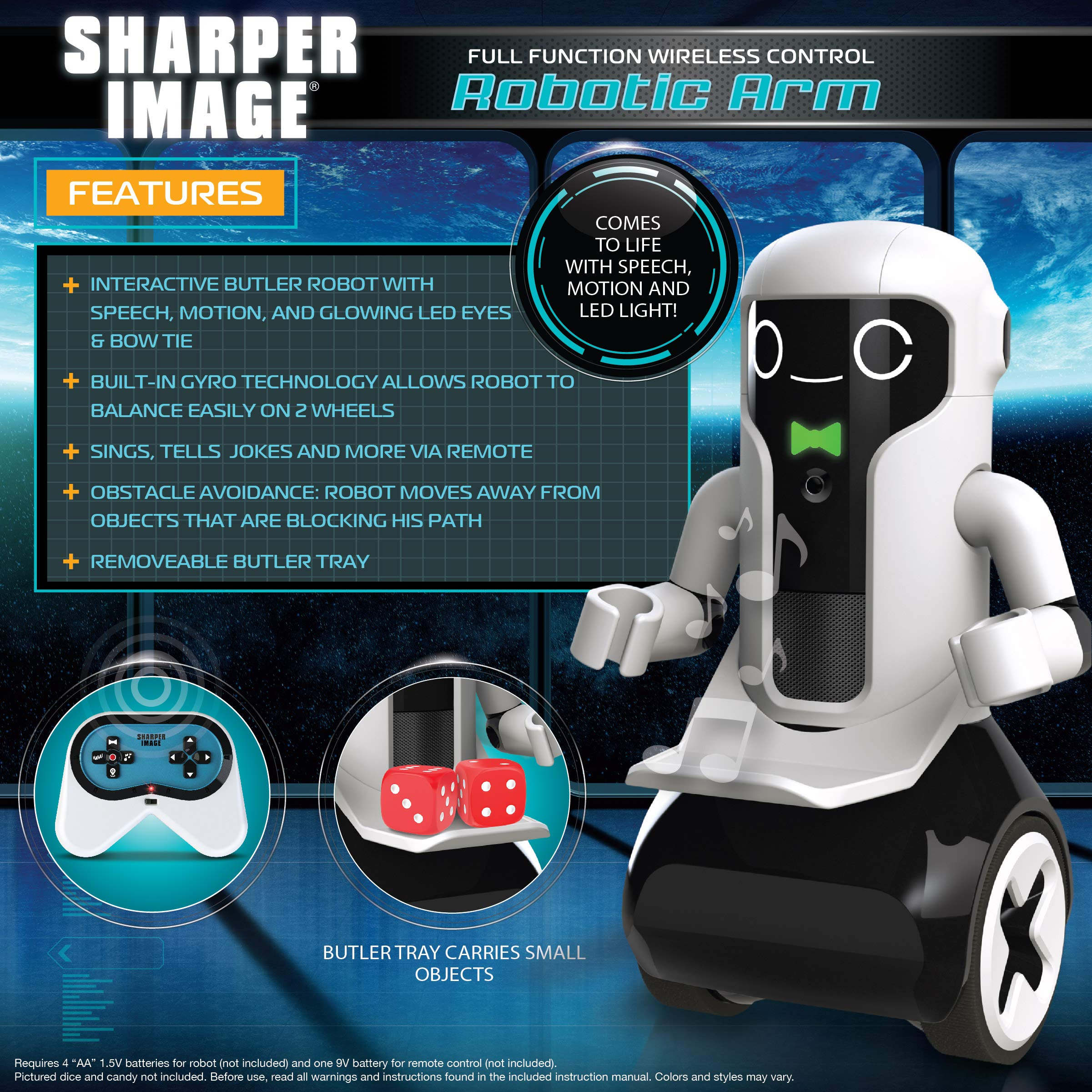 Sharper Image Maximilian The RC Butler Bot, Interactive Remote Control Robot with Speech, Singing, Audio Recording, Motion Detection, Color-Coded Emotional Responses by Sharper Image (Image #2)