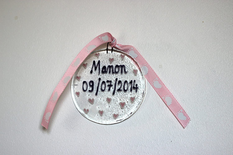 Boule de souvenir -fille rose- cadeau baptême - ange -souvenir bébé - maternité - bébé shower - cadeau gift - mon premier cadeau - verre fusionné- déco chambre bébé