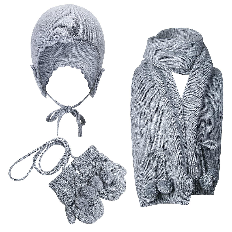 Vivobiniya Baby Girl Winter Warm Hat Scarf Gloves 3pcs/Set Gray 0-4Y