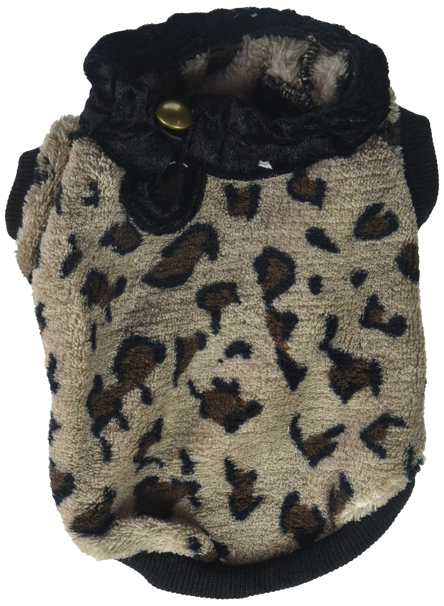 Brown Leopard Print Fleece Sweater [FOR SMALL DOGS], Small