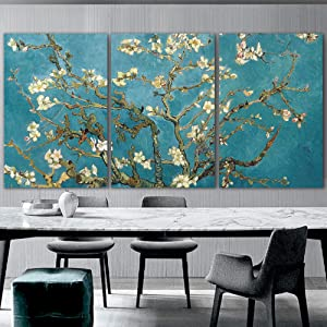 wall26 3 Panel Canvas Wall Art - Almond Blossom by Vincent Van Gogh - Giclee Print Gallery Wrap Modern Home Art Ready to Hang - 24