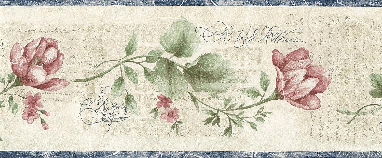 Amazon Com Wallpaper Border Watercolor Floral One Faux Script