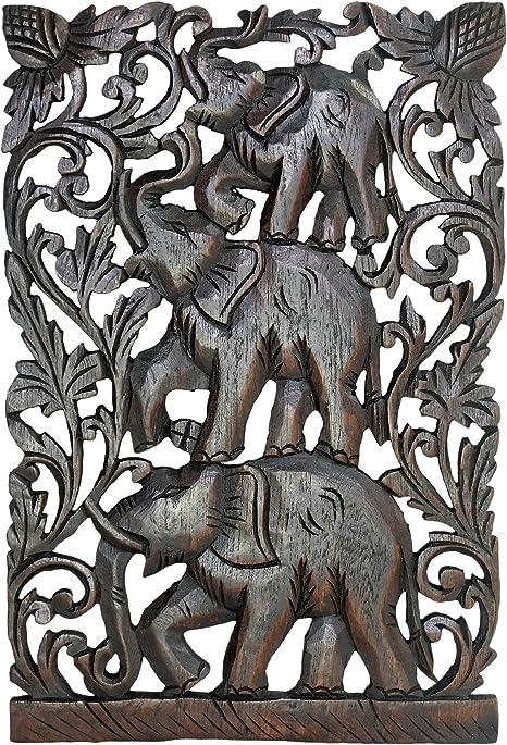 Aeravida Joyful Circus Elephant Family Hand Carved Relief Panel Wood Wall Art 12 X18 Home Kitchen