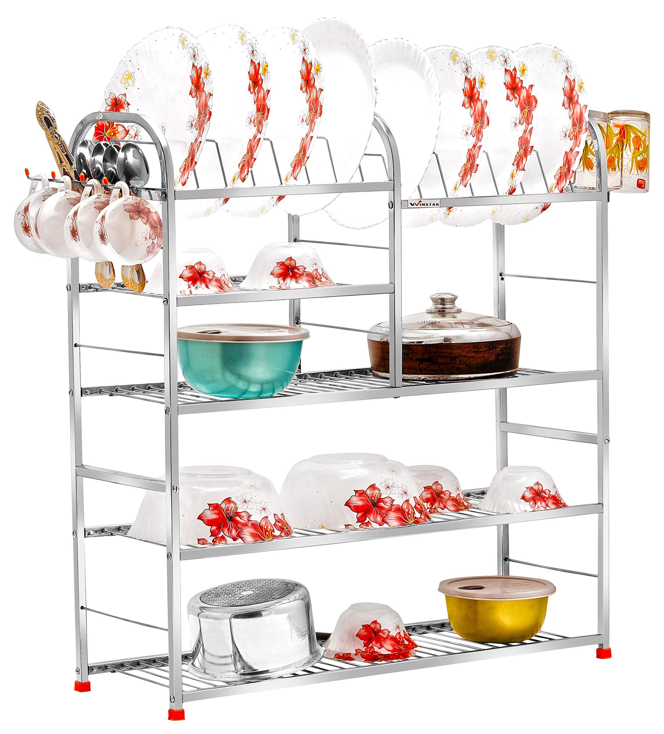 Winstar Stainless Steel 5 Shelf Wall Mount Kitchen Racks Dish Rack With Cutlery And Plate Kitchen Stand Modular Kitchen Bartan Stand Kitchen Organizer Items 30 X 31 Inches Buy
