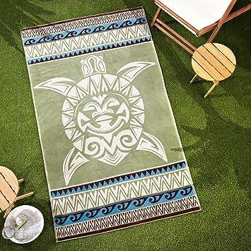 Sancarlos - TOALLA DE PLAYA ETNICA WAIKIKI VERDE - Extra grande 100x180 cm - 500 g. - Jacquard: Amazon.es: Hogar