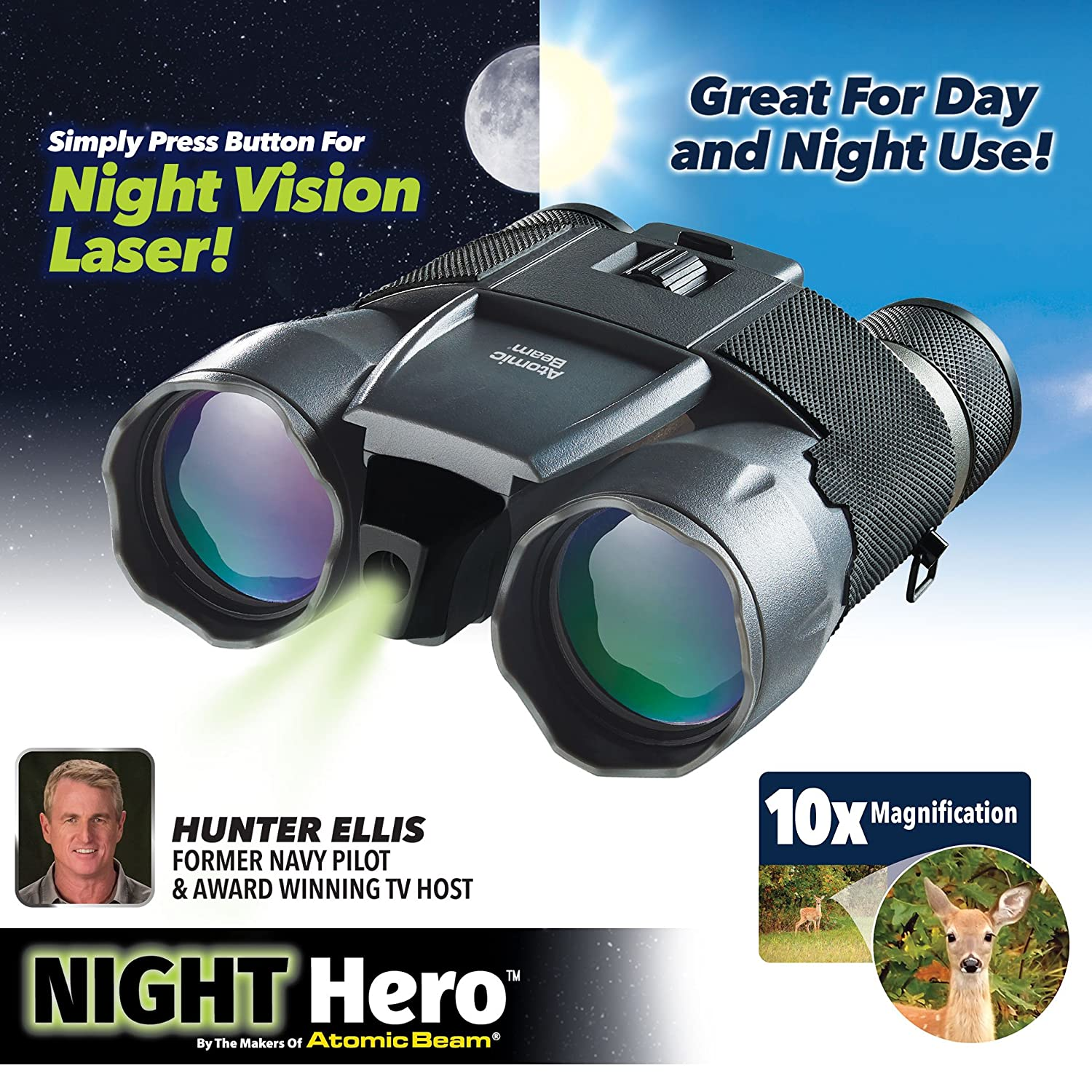 Reveals Objects 150-Yards Away 10x Magnification Full Range of Focal Adjustments Atomic Beam Official As Seen On TV Night Hero Binoculars by BulbHead Water-Resistant