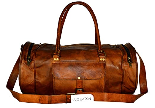 ADIMANI 22 Inch Leather GYM Bag Brown For Mens And Womens