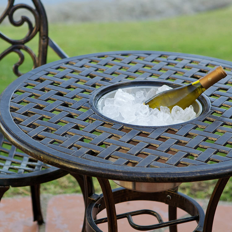 Amazoncom Palermo  PcsCast Aluminum Outdoor Bistro Set W Ice - Outdoor bistro table set