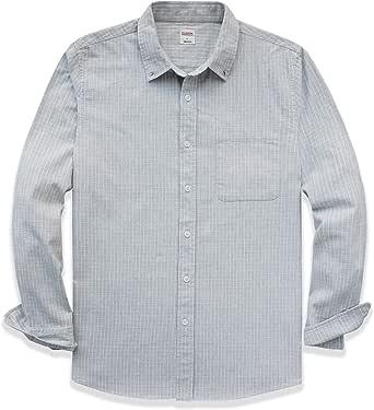 Dubinik® Camisa de franela a cuadros para hombre, ajuste normal, manga larga, para el tiempo libre blanco-gris M