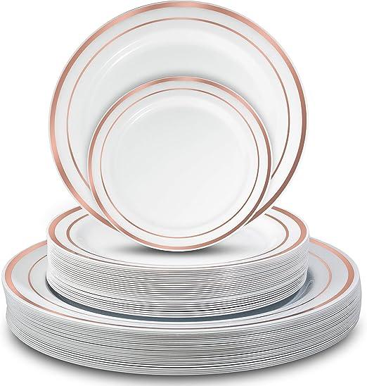 Amazon.com: Platos de plástico desechables – 50 piezas ...