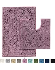 H.VERSAILTEX Soft Shaggy Non Slip Absorbent Bath Mat Chenille Bathroom Shower Rugs Shaggy Carpet