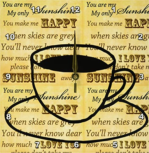 3dRose dpp_123348_1 Coffee Art Inspirational You are My sunshine Wall Clock, 10 by 10-Inch