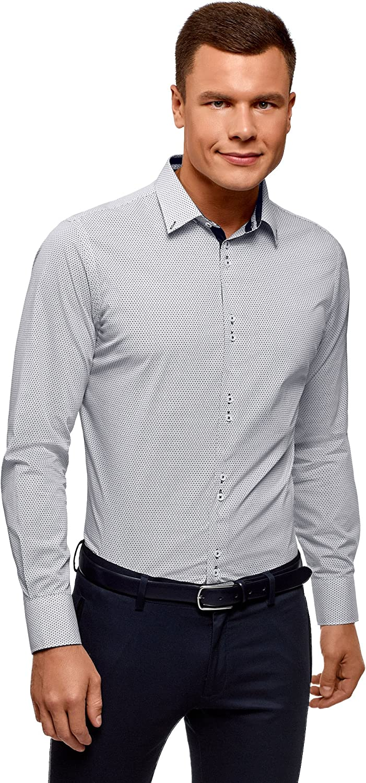 oodji Ultra Hombre Camisa de Algodón Entallada: Amazon.es: Ropa y accesorios