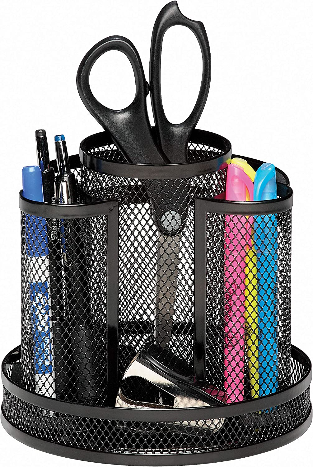 Rolodex Mesh Collection Spinning Desk Sorter, Black (1773083) : Pencil Holders : Office Products
