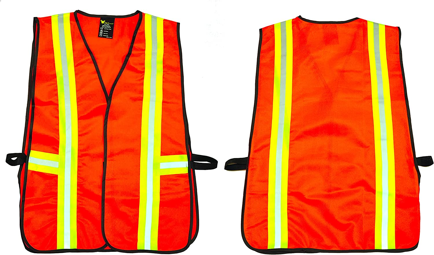 G & F 41113 Industrial Safety Vest with Reflective Stripes, Neon Orange - Safety Vest For Women -