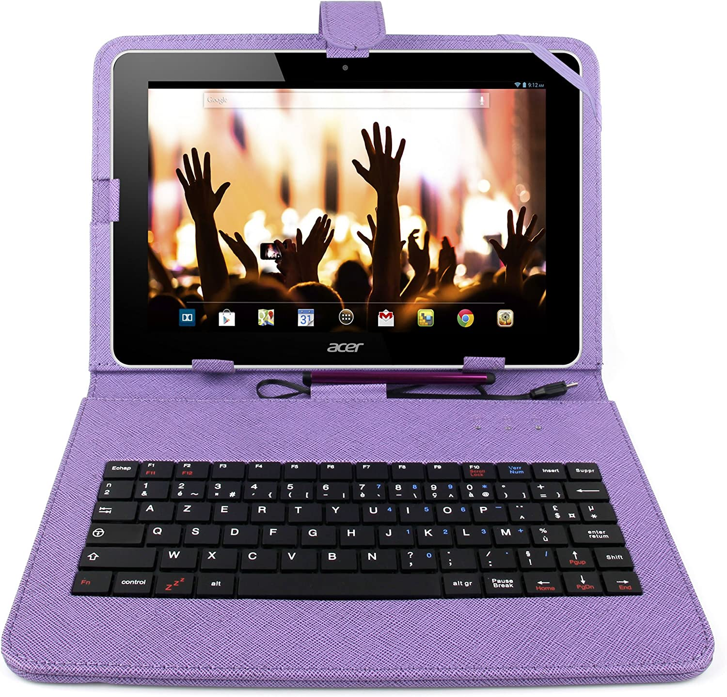 DURAGADGET Purple French Keyboard Case w/Stand Case - Compatible with Acer Iconia Tab A3 | Aspire Iconia Tab A500 & Ionia A200 Tablets