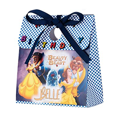 Personalized Treat Bags for Kids | 12 Mini Treat Boxes Per Pack | Beauty and The Beast Themed | Customized Happy Birthday Party Favors for Boys & Girls | Fill with Your Treats & Gifts: Health & Personal Care