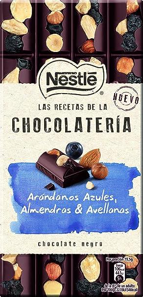 Nestlé Las Recetas de la Chocolatería - Chocolate Negro con Arándanos, Almendras y Avellanas -
