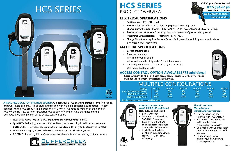 Amazon.com: ClipperCreek HCS-60, 240V, 48A, EV Charging Station, 25 ...
