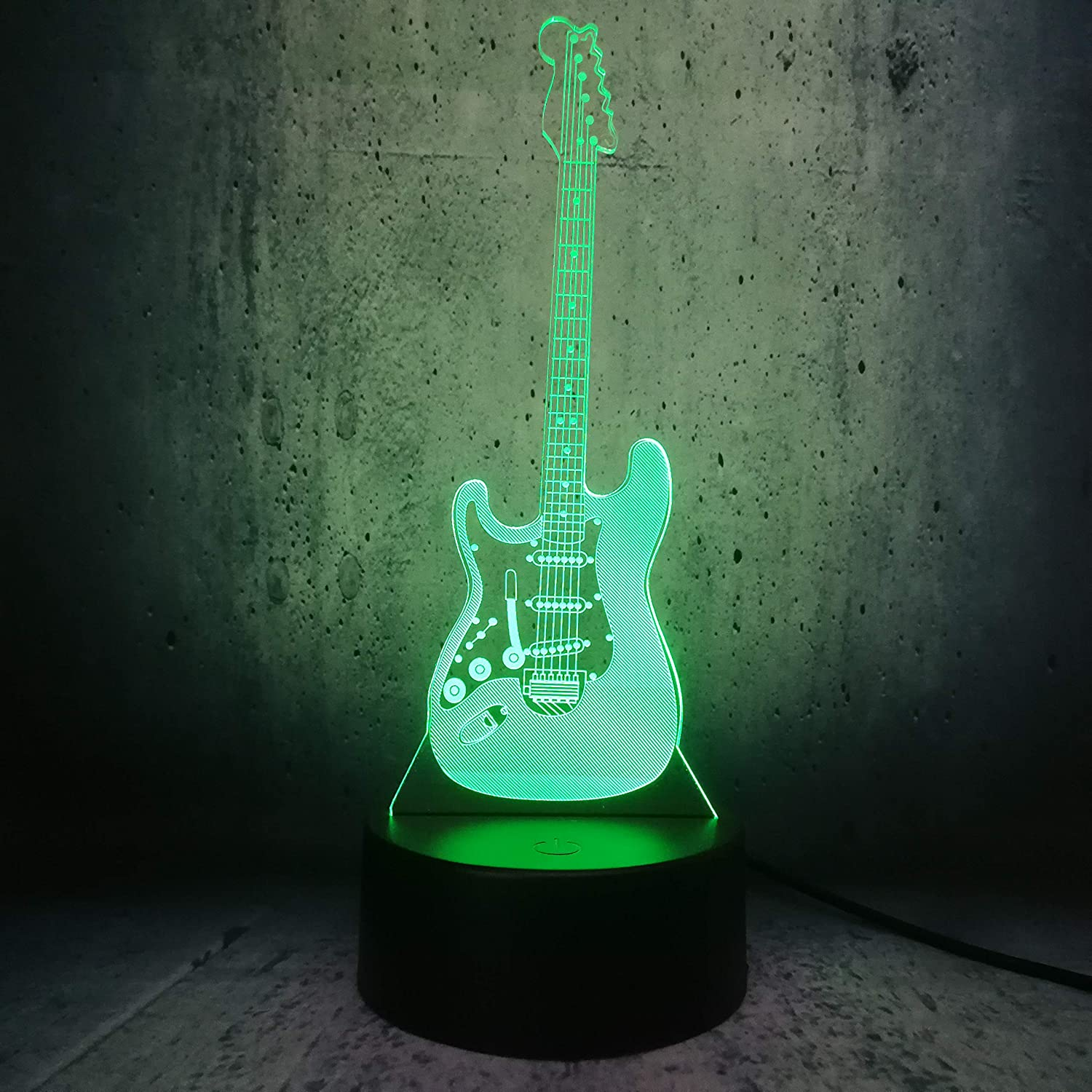 Bass Guitar Bedside Lamp 3D LED Night Light Illusion Stringed Instrument 7 Colors Change Remote Control Teens Room Decor Desk Lighting Children Friends Xmas Gifts