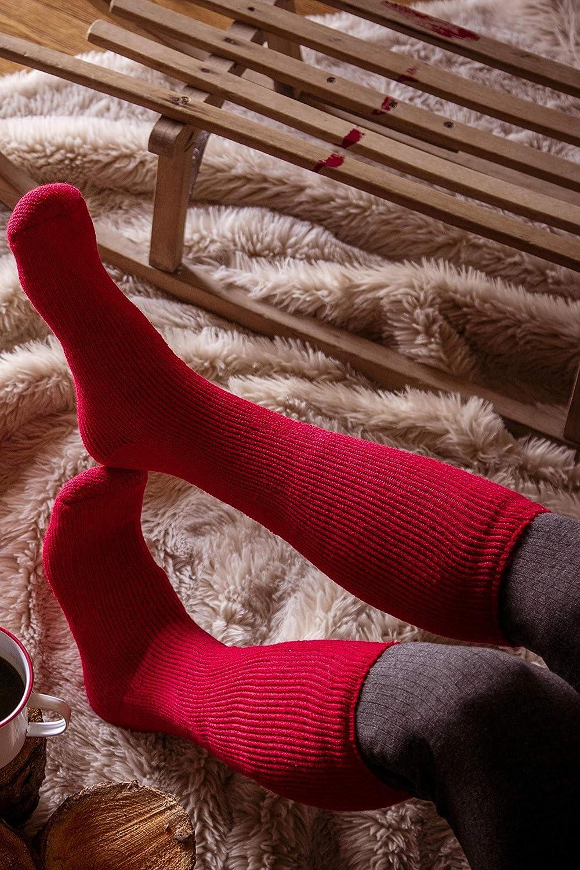 Chaussettes thermiques extra longues pour femme Cerise et vin