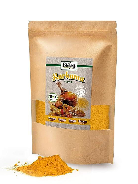 Biojoy Cúrcuma BÍO (Curcuma) en polvo, producida de raíces desecadas de cúrcuma bio-Curcumin Turmeric (1 kg)