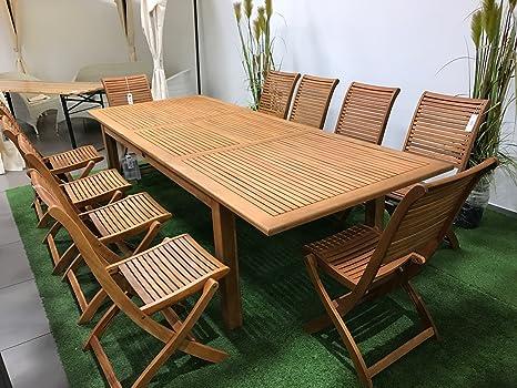 Set tavolo estensibile 200-240cm più 10 sedie pieghevoli in ...