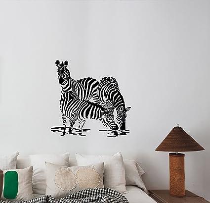 Amazon.com: Zebra Family Wall Art Decal Vinyl Sticker Wild ...