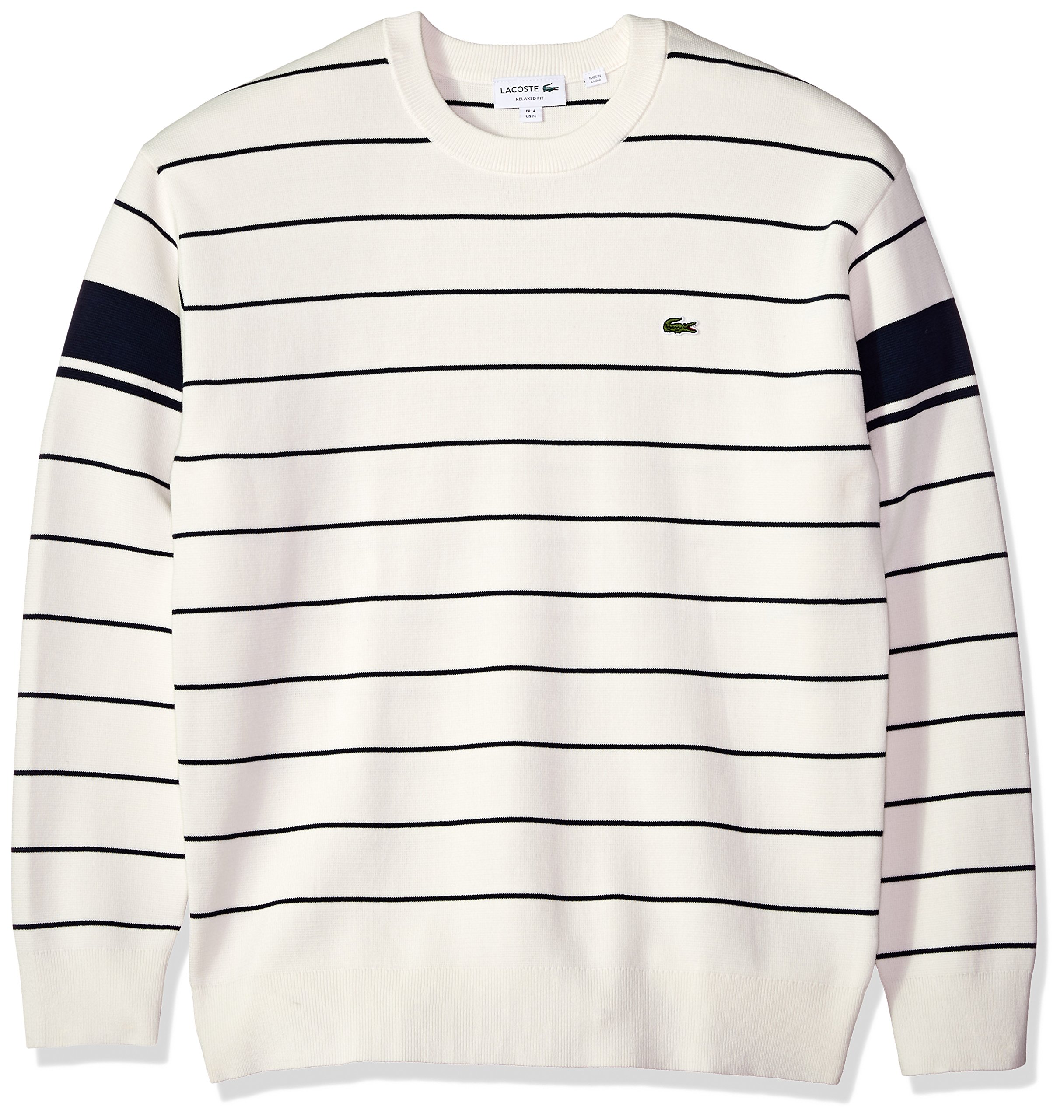 Lacoste Men's Long Sleeve Heritage France Milano Crew Neck Sweater, Ah4549, Flour/Navy Blue, 4