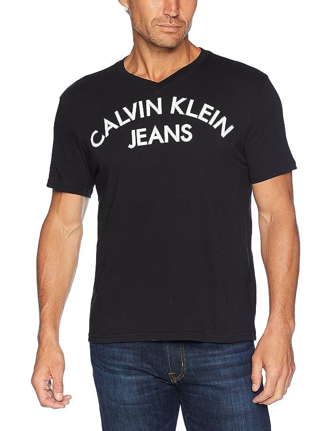 Calvin Klein Jeans 卡尔文克莱因 CK 纯棉 男式V领短袖T恤 L码4.3折$12.74 海淘转运到手约¥103