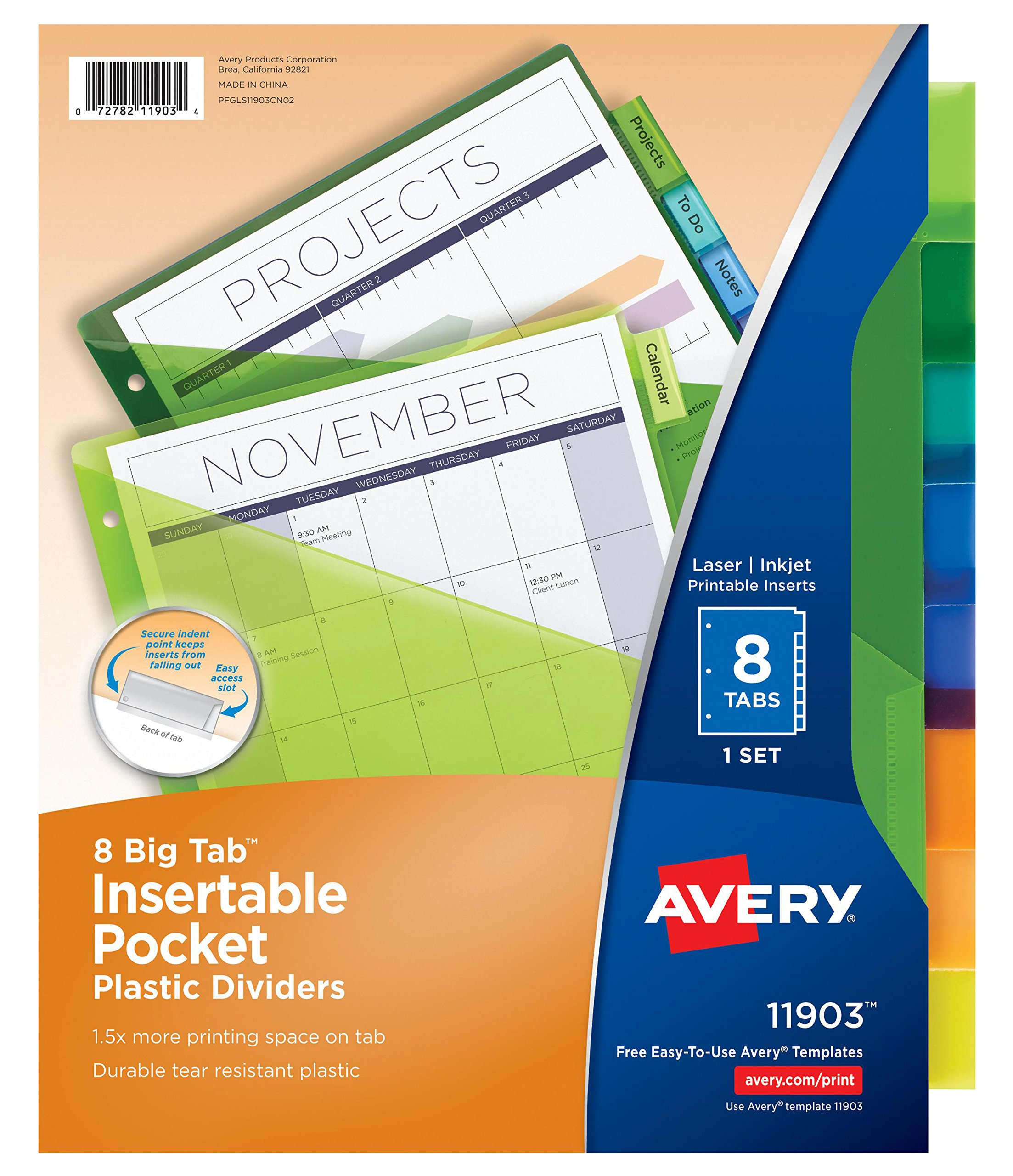 Avery Big Tab Insertable Plastic Dividers with Pockets, 8 Multicolor Tabs, Case Pack of 24 Sets (11903) by Avery (Image #1)