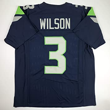 the latest 437e8 c010a Unsigned Russell Wilson Seattle Blue Custom Stitched Football Jersey Size  Men's XL New No Brands/Logos